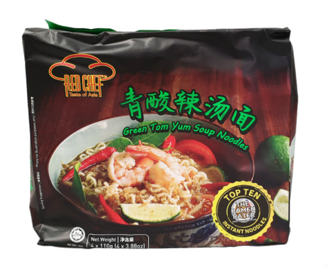 Red Chef Green Tom Yum Soup Noodles 110g x 4 青酸辣汤面