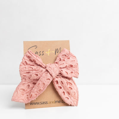 Dark Rose Broderie Bow