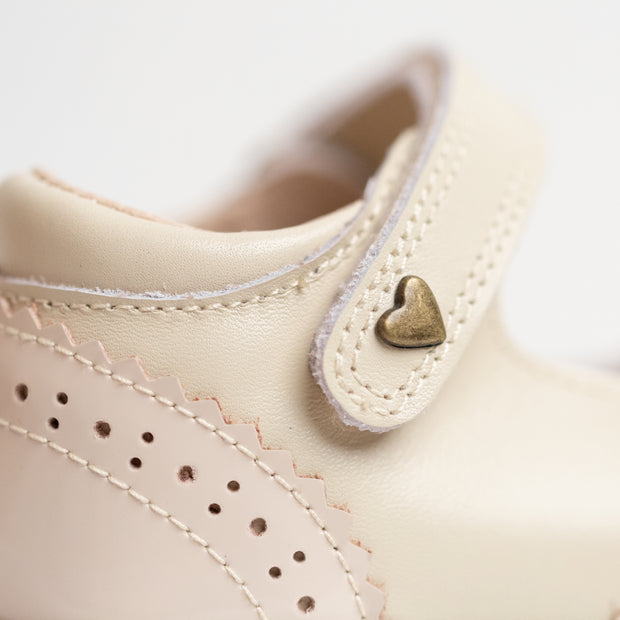 Brogue Mary Janes - Nude
