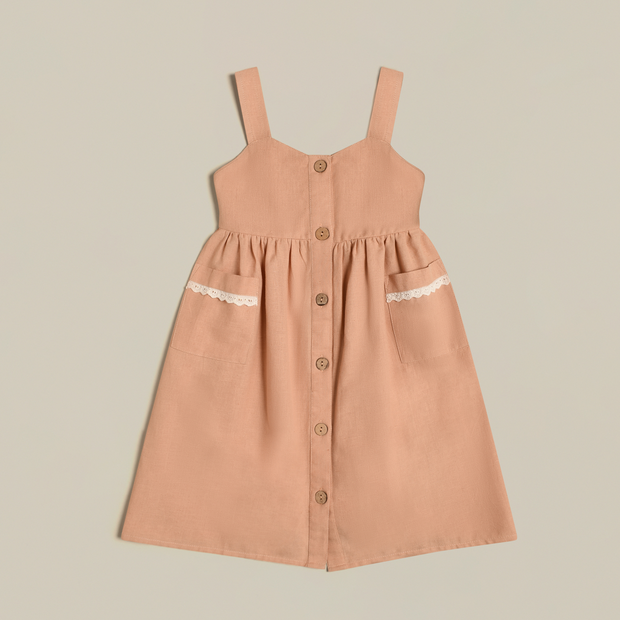 'Noelle' Linen Peach Dress