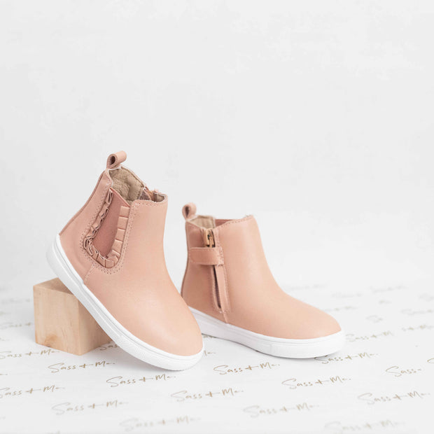 Remy Chelsea Boots - Blush Ruffle