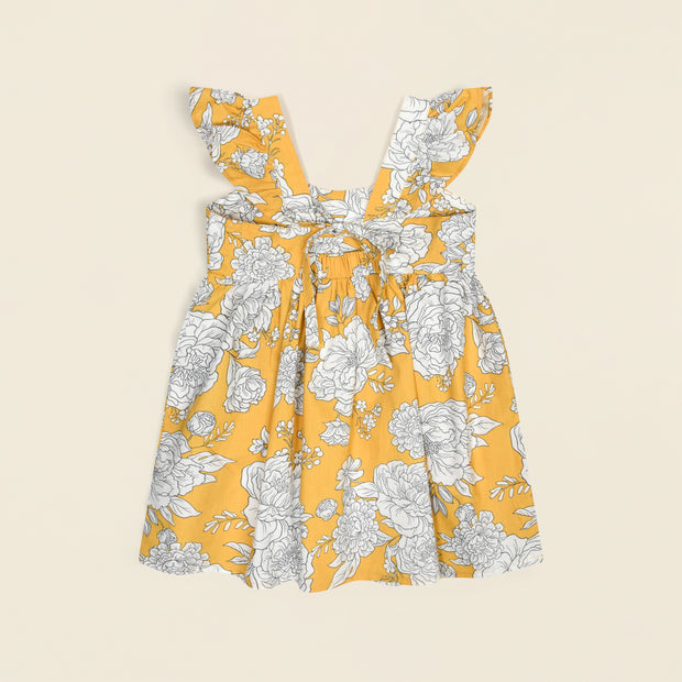 'Marley' Peony Print Dress - Yellow