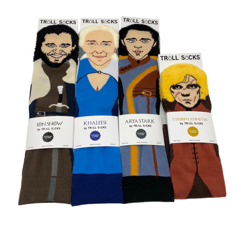 Game of thrones socks, game of thrones gifts, khaleesi socks, khaleesi gifts, jon snow gifts, jon snow socks, game of thrones fans, game of thrones fan gifts