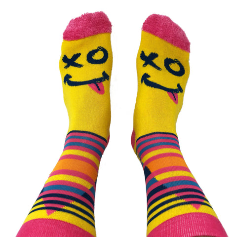 XO Smiley Socks - Yellow