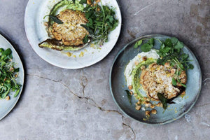 CAULIFLOWER STEAKS, CAULIFLOWER & PEA PUREE, ZESTED CAULIFLOWER LEAVES