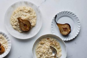 Cardamom Rice Pudding with Roasted Thyme & Honey Pears