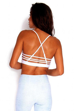 WOMENS BRAS ALL FENIX White Criss Cross Crop