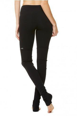 WOMENS LEGGINGS Alo Yoga Goddess Ribbed Legging - Black / Black