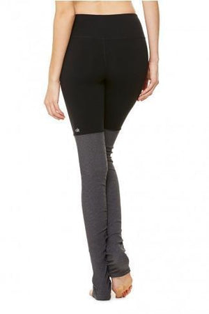 WOMENS LEGGINGS Alo Yoga Goddess Ribbed Legging - Black / Stormy Heather