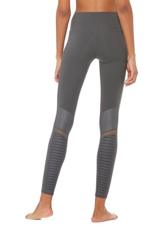 WOMENS LEGGINGS Alo Yoga High Waist Anthracite / Anthracite Glossy Moto Legging