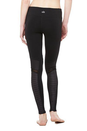 WOMENS LEGGINGS Alo Yoga Moto Legging - Black / Black Glossy