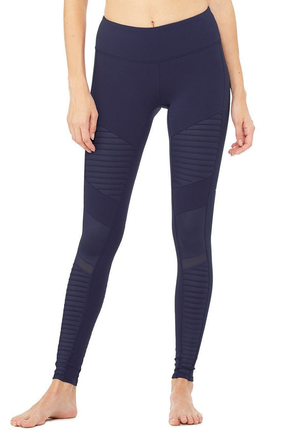 WOMENS LEGGINGS Alo Yoga Moto Legging - Rich Navy / Rich Navy Glossy