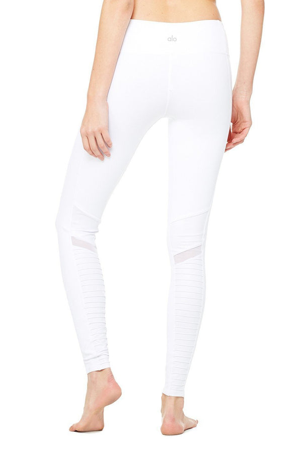 85eb153658337c Alo Yoga Moto Legging - White / White Glossy - YOGA REBEL