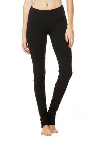 WOMENS LEGGINGS L (U.K 14-16) Alo Yoga Goddess Ribbed Legging - Black / Black