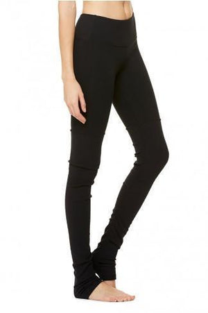WOMENS LEGGINGS XS (U.K 6-8) Alo Yoga Goddess Ribbed Legging - Black / Black