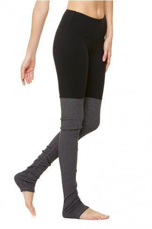 WOMENS LEGGINGS XS (U.K 6-8) Alo Yoga Goddess Ribbed Legging - Black / Stormy Heather