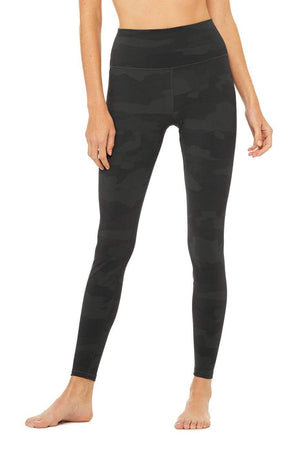 WOMENS LEGGINGS XS (U.K 6-8) Alo Yoga High Waist Vapor Legging - Black Camouflage