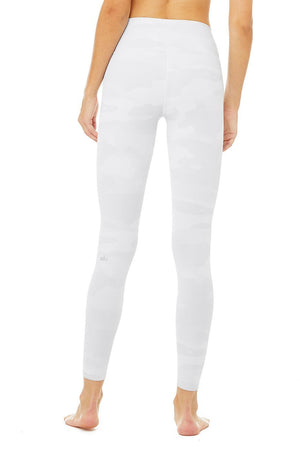 WOMENS LEGGINGS XS (U.K 6-8) Alo Yoga High Waist Vapor Legging - White Camouflage