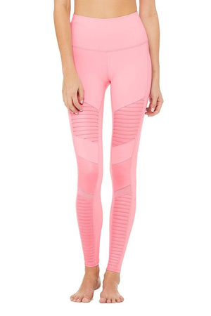 WOMENS LEGGINGS XXS (U.K 4) Alo Yoga High Waist Moto Legging - Flamingo/Flamingo Glossy