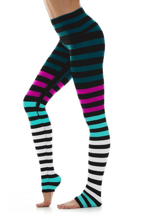 WOMENS LEGGINGS S (U.K 6-8) K-DEER Legging in Candice Stripe