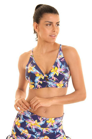 WOMENS BRAS Liquido Om Twisted Bra - Tiger Lily