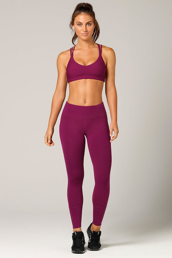 WOMENS LEGGINGS LORNA JANE Luster Core Beetroot Ankle Biter Tight