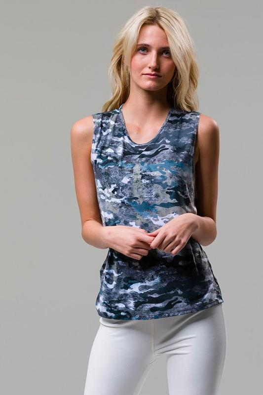 ONZIE Marble Camo Twist Back Top