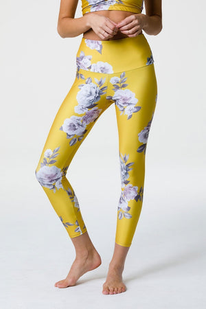 WOMENS LEGGINGS ONZIE Golden Floral Graphic High Basic Midi