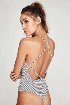 INTIMATES Spiritual Gangster Striped Heart Patch Bodysuit