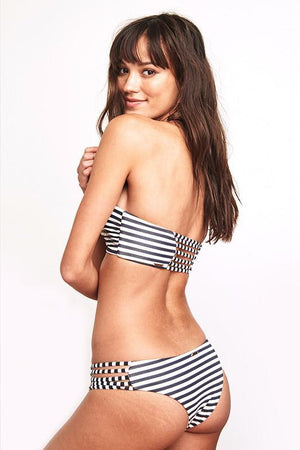 SWIMWEAR Spiritual Gangster B&W Soul Bottom - Vintage Black Stripe