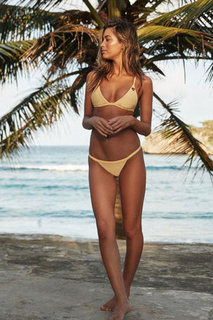 SWIMWEAR Spiritual Gangster Yellow Breezy Ribbed Bikini Top