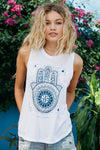 Women's Tops/Tanks Spiritual Gangster Dreamer Hamsa Chakra Tank - White