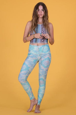 WOMENS LEGGINGS Teeki Blue Southern Cross Hot Pant