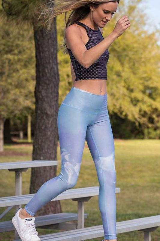 WOMENS LEGGINGS Teeki High Horses Blue Hot Pant