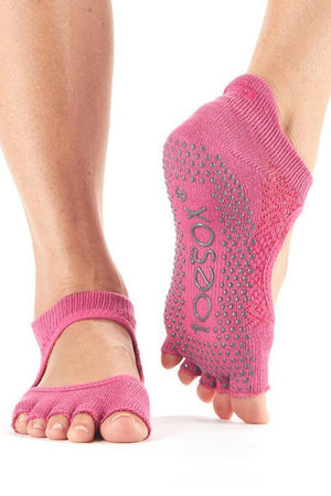 SOCK Toesox Half Toe Bellarina Grip Socks - Ruby