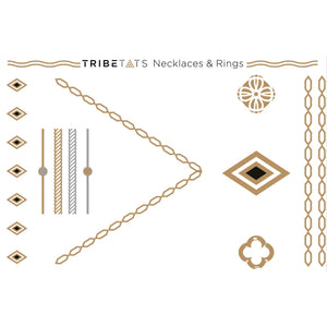 TATTOO TRIBETATS Metallic Tattoos - Necklaces, Rings & Nails Collection