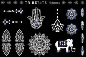 TATTOO TRIBETATS Mykonos White Tattoo Collection 2 Sheet Pack