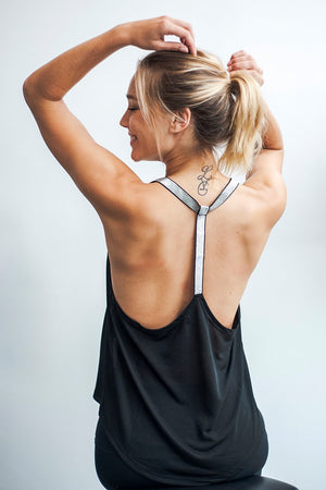 Women's Tops/Tanks YUJ Yoga Tank LEOTEE Black and Silver