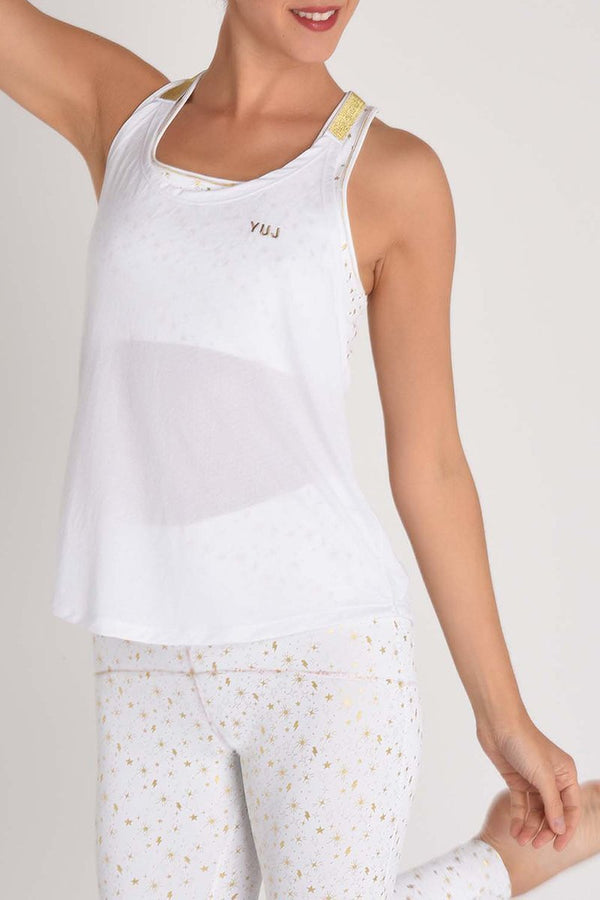 Women's Tops/Tanks YUJ Yoga Tank LEOTEE White and Gold