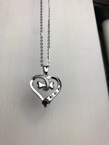 Bone Heart Paw Necklace