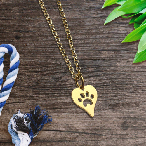 Gold Heart Paw Print Necklace