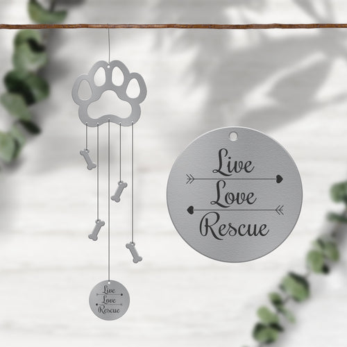 Live Love Rescue Dog Windcharms