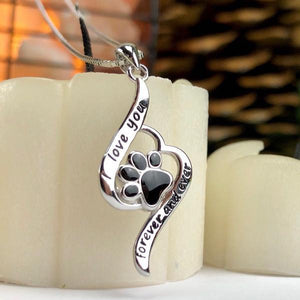 Love You Forever and Ever Paw Necklace