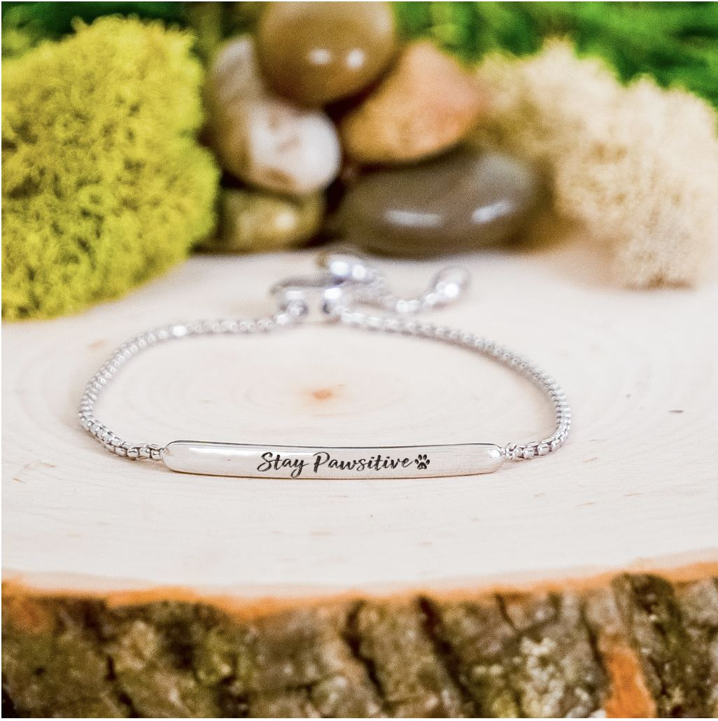 Stay Pawsitive Bar Bracelet