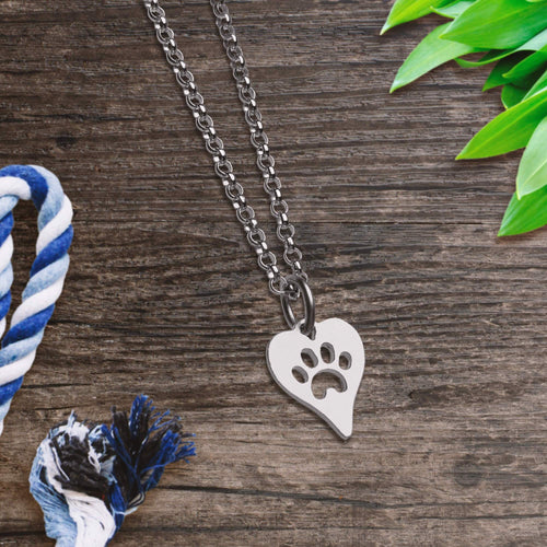 Silver Heart Paw Print Necklace