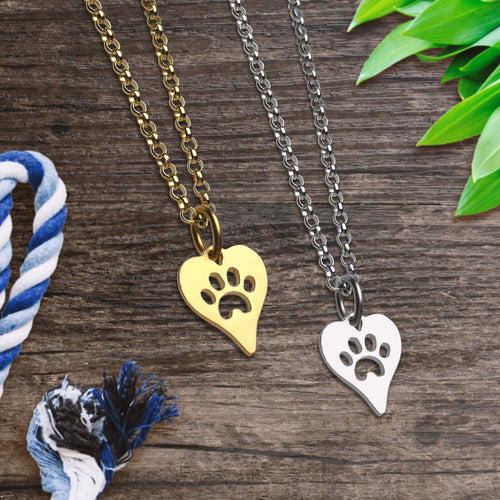 Silver and Gold Paw Print Necklace Bundle