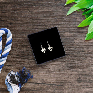Silver Paw Print Hook Earrings