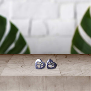 Silver Paw Print Earrings
