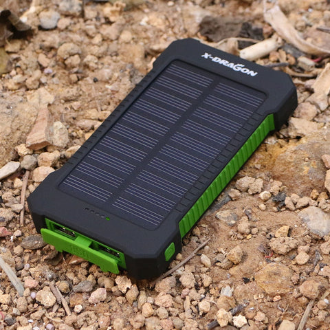 X-DRAGON 10000mAh PORTABLE SOLAR POWER BANK Emergency Charger, Waterproof