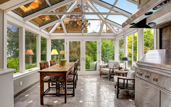 Sunroom with dining room furniture